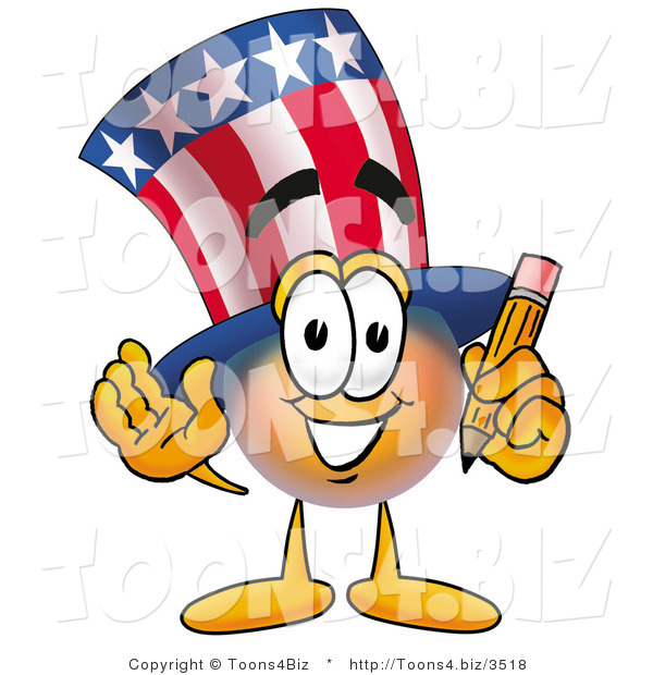 Illustration of a Cartoon Uncle Sam Mascot Holding a Pencil