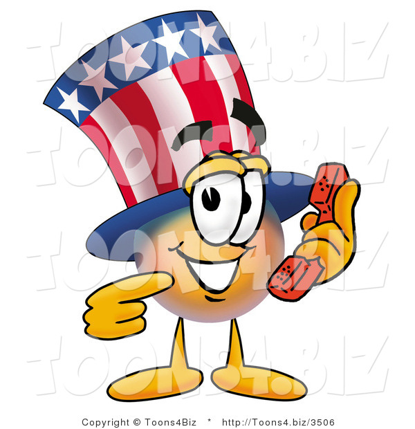Illustration of a Cartoon Uncle Sam Mascot Holding a Telephone
