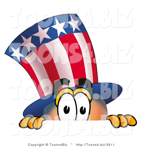 Illustration of a Cartoon Uncle Sam Mascot Peeking over a Surface