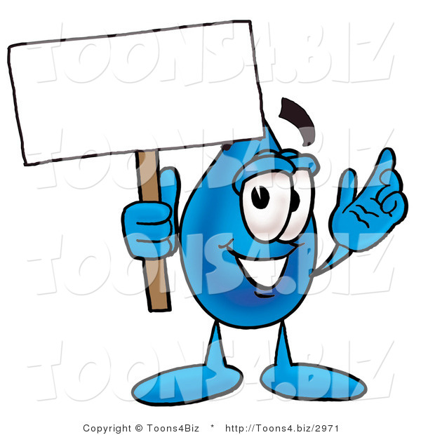 Illustration of a Cartoon Water Drop Mascot Holding a Blank Sign