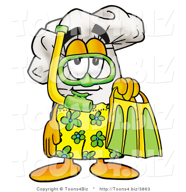 Illustration of a Chef Hat Mascot in Green and Yellow Snorkel Gear