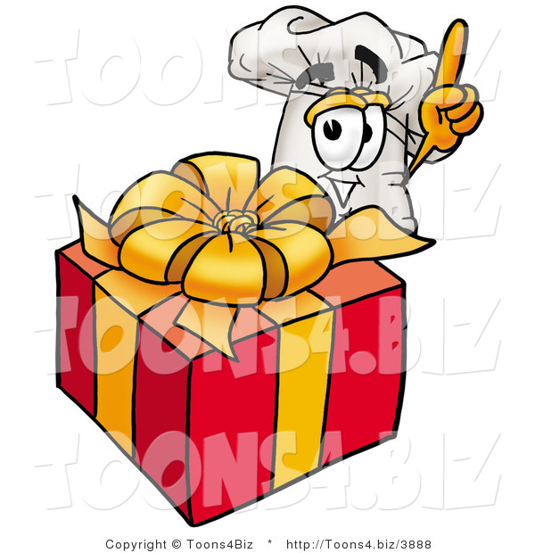 Illustration of a Chef Hat Mascot Standing by a Christmas Present