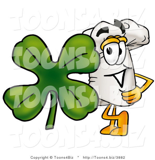 Illustration of a Chef Hat Mascot with a Green Four Leaf Clover on St Paddy's or St Patricks Day