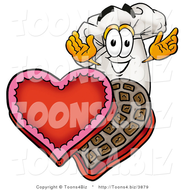 Illustration of a Chef Hat Mascot with an Open Box of Valentines Day Chocolate Candies