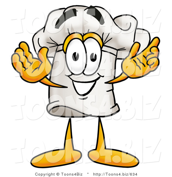 Illustration of a Chef Hat Mascot with Welcoming Open Arms