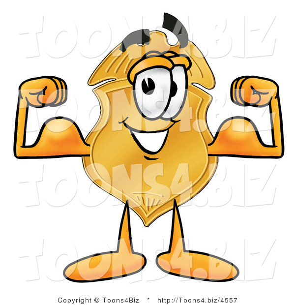 Illustration of a Police Badge Mascot Flexing His Arm Muscles