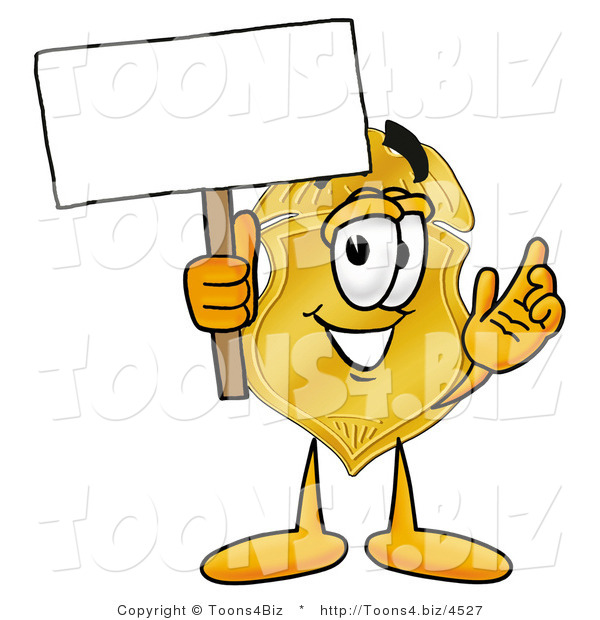 Illustration of a Police Badge Mascot Holding a Blank Sign