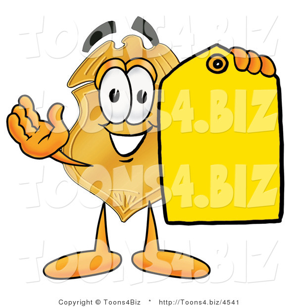 Illustration of a Police Badge Mascot Holding a Blank Yellow Price Tag for a Sale