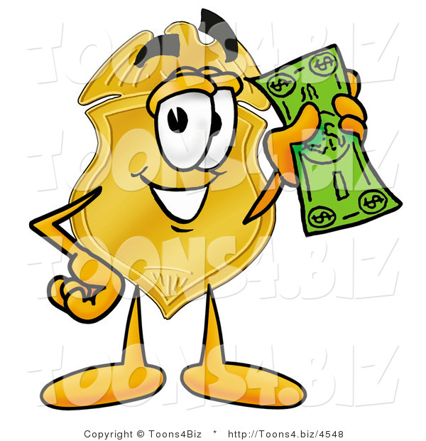 Illustration of a Police Badge Mascot Holding a Dollar Bill