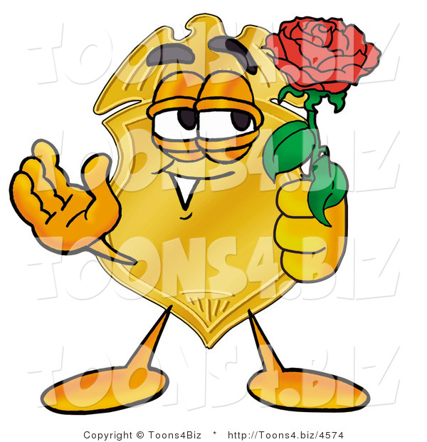 Illustration of a Police Badge Mascot Holding a Red Rose on Valentines Day