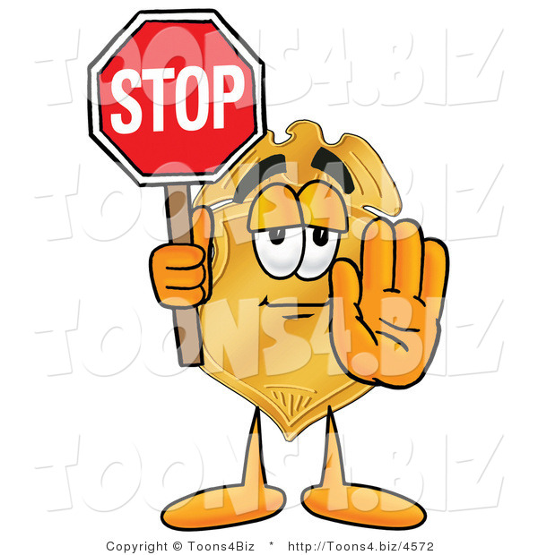 Illustration of a Police Badge Mascot Holding a Stop Sign