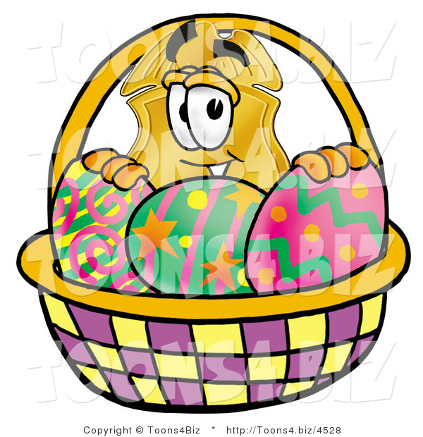 Illustration of a Police Badge Mascot in an Easter Basket Full of Decorated Easter Eggs