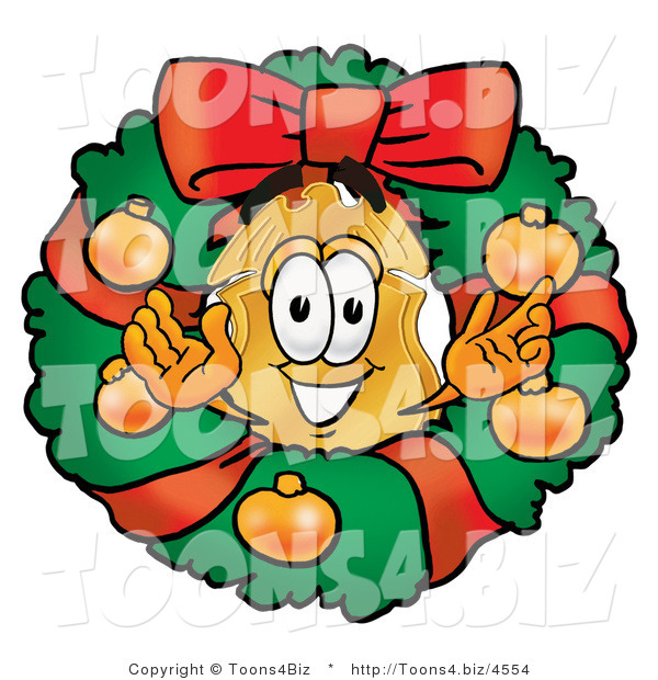 Illustration of a Police Badge Mascot in the Center of a Christmas Wreath