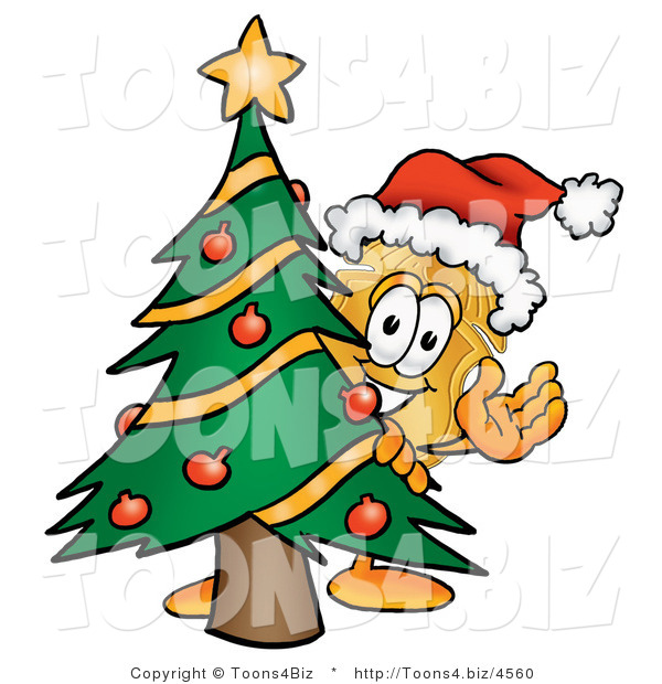 Illustration of a Police Badge Mascot Waving and Standing by a Decorated Christmas Tree