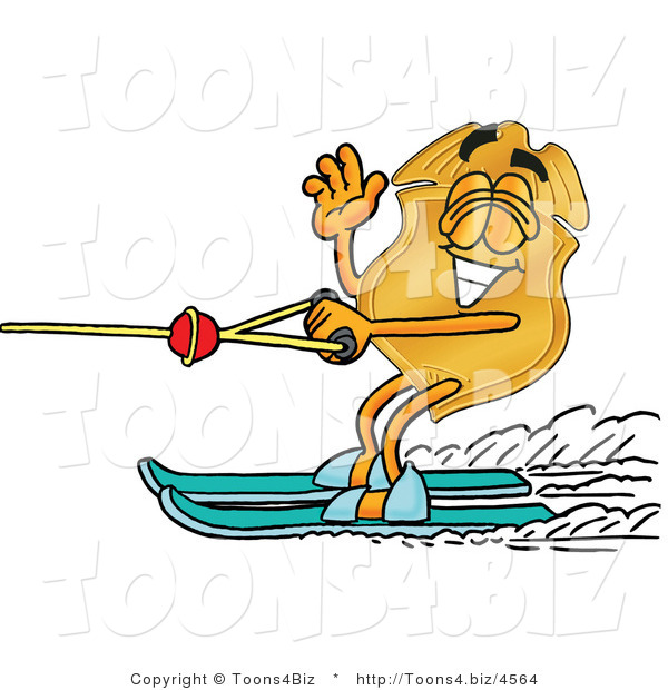 Illustration of a Police Badge Mascot Waving While Water Skiing