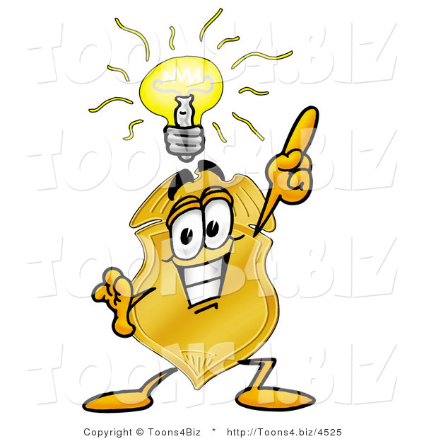 Illustration of a Police Badge Mascot with a Bright Idea