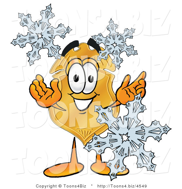 Illustration of a Police Badge Mascot with Three Snowflakes in Winter