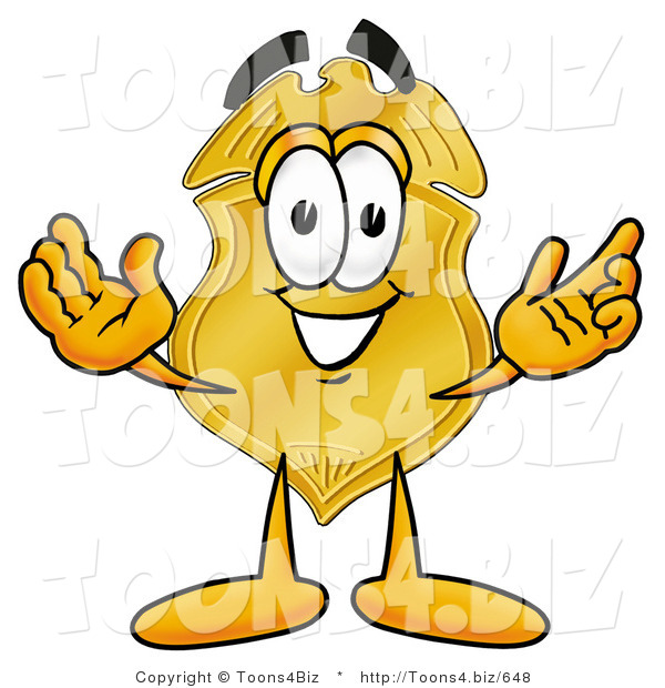 Illustration of a Police Badge Mascot with Welcoming Open Arms