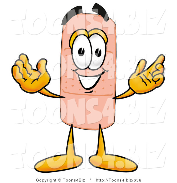 Illustration of an Adhesive Bandage Mascot with Welcoming Open Arms