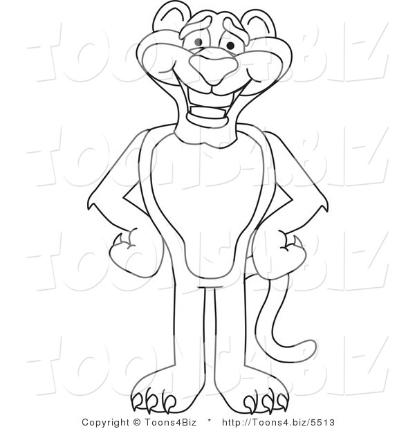Line Art Vector Illustration of a Cartoon Panther Mascot