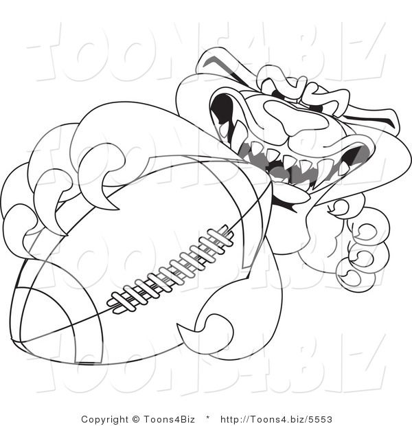 Line art vector illustration of a cartoon panther mascot for Panthers football coloring pages