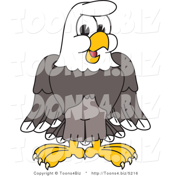 Vector Illustration of a Bald Eagle Character