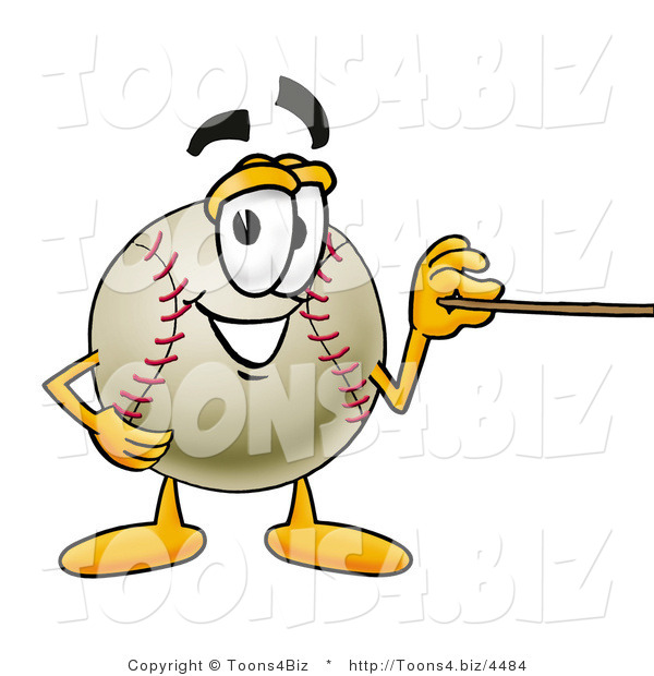 Vector Illustration of a Baseball Mascot Holding a Pointer Stick