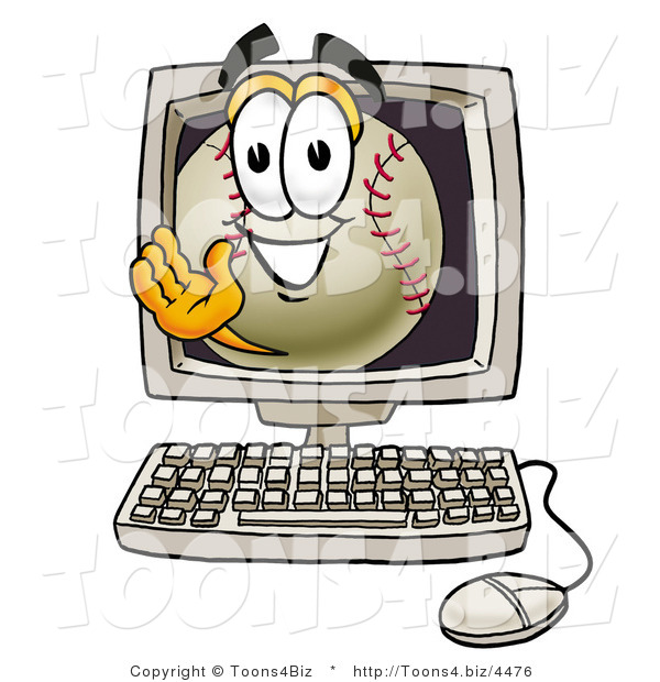 Vector Illustration of a Baseball Mascot Waving from Inside a Computer Screen