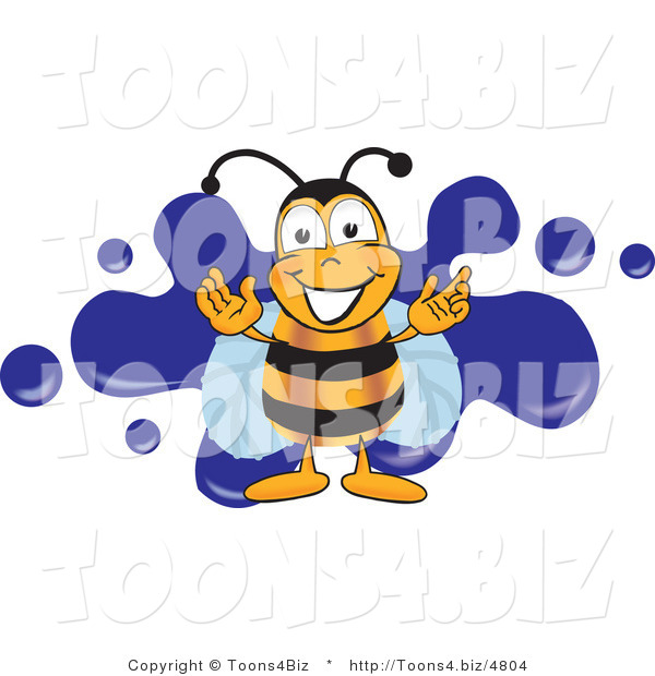 Vector Illustration of a Bee Smiling over Blue SplattersBee Smiling over Blue Splatters