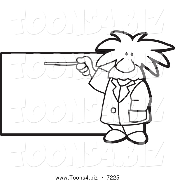 Vector Illustration of a Black and White Albert Einstein Scientist Pointing to a Sign