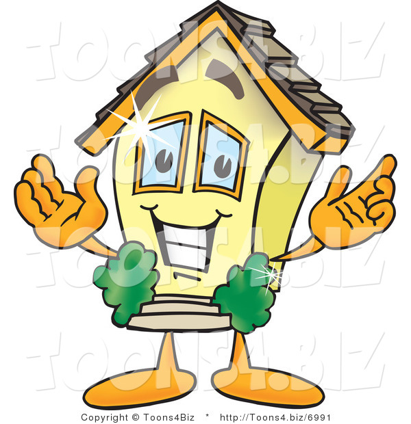Vector Illustration of a Brand New Cartoon Home Mascot Smiling with Open Arms in Welcoming Position