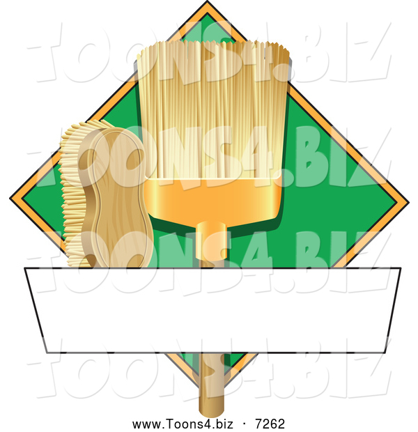 Vector Illustration of a Broom and Scrub Brush Cleaning Sign or Logo