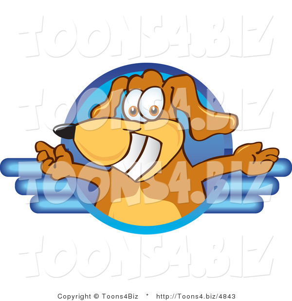 Vector Illustration of a Brown Dog Mascot Logo with Open Arms