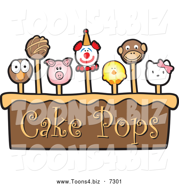 Vector Illustration of a Cake and Cute Pops