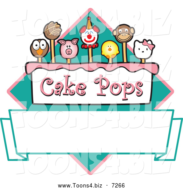 Vector Illustration of a Cake Pops Diamond and Banner