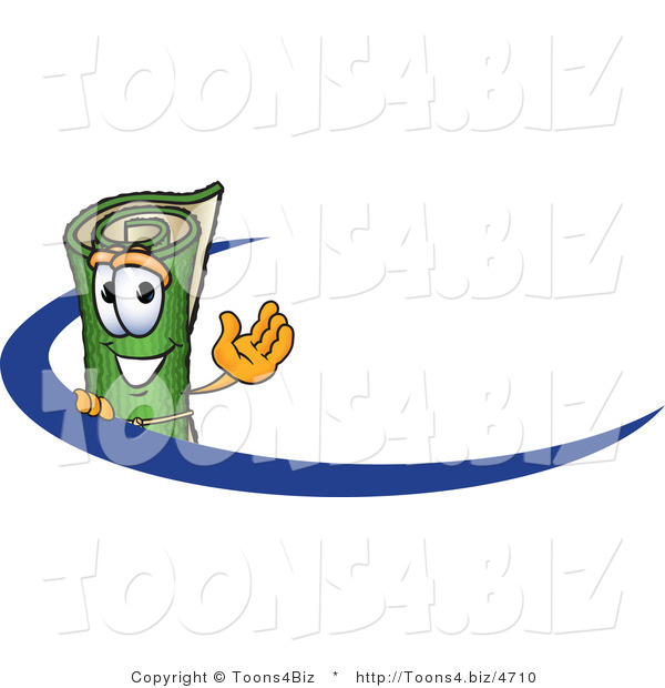 Vector illustration of a carpet roll mascot logo by for Carpet roll logo