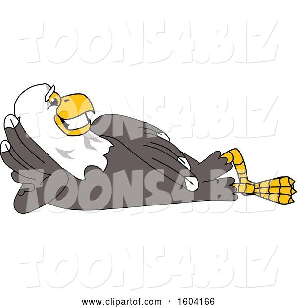 Vector Illustration of a Cartoon Bald Eagle Mascot Relaxing