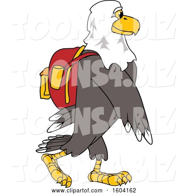 Vector Illustration of a Cartoon Bald Eagle Mascot Wearing a Backpack