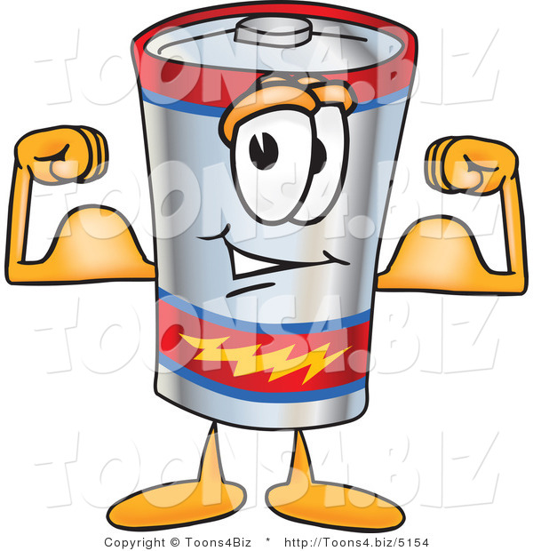 Vector Illustration of a Cartoon Battery Mascot Flexing His Arm Muscles