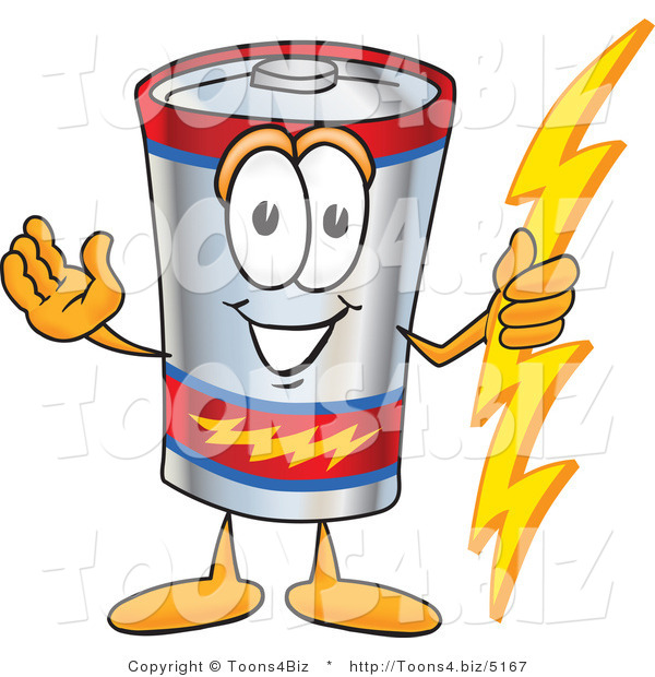 Vector Illustration of a Cartoon Battery Mascot Holding a Bolt of Energy and Welcoming