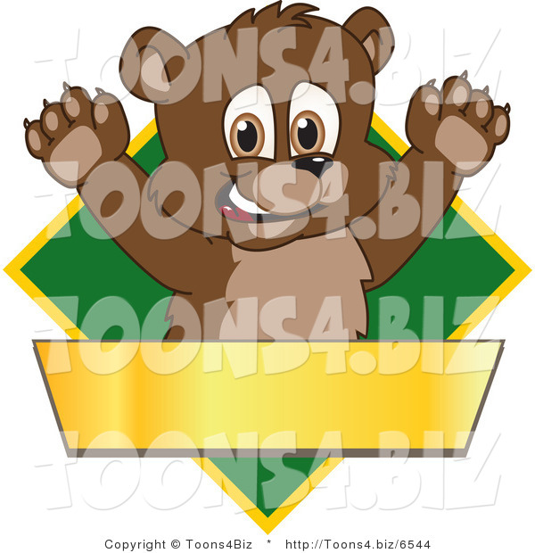 Vector Illustration of a Cartoon Bear Mascot Logo over a Green Diamond and Blank Gold Banner