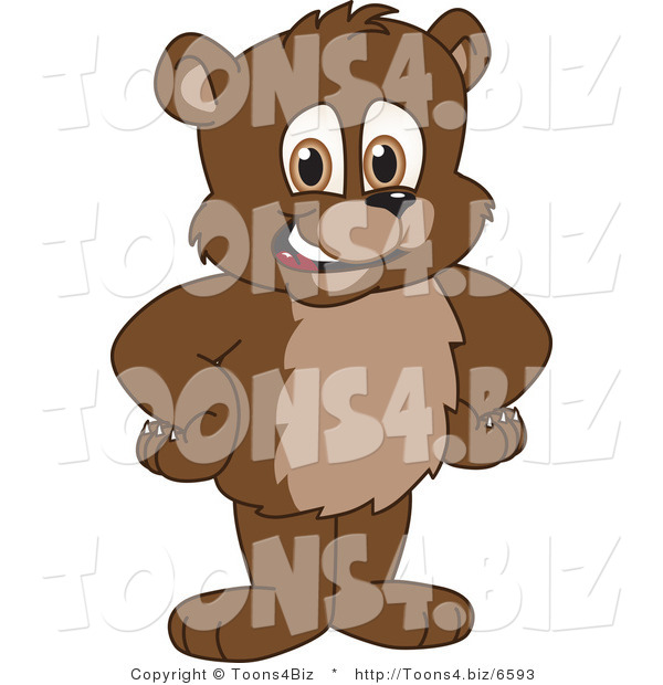 Vector Illustration of a Cartoon Bear Mascot Standing with His Hands on His Hips
