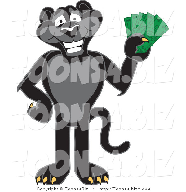 Vector Illustration of a Cartoon Black Jaguar Mascot Holding Cash