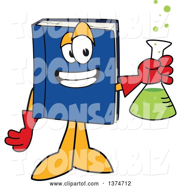 Vector Illustration of a Cartoon Blue Book Mascot Scientist Holding a Bubbly Flask