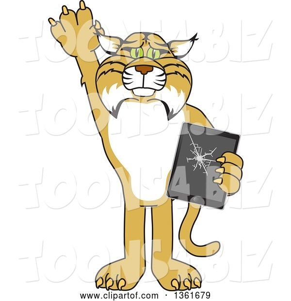Vector Illustration of a Cartoon Bobcat Mascot Confessing to Breaking a Tablet, Symbolizing Integrity