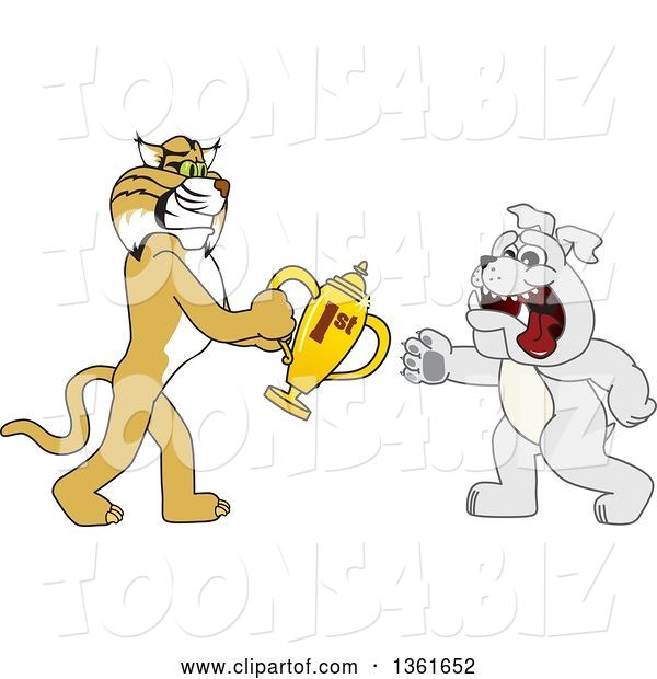 Vector Illustration of a Cartoon Bobcat Mascot Giving a First Place Trophy to a Bulldog, Symbolizing Teamwork and Sportsmanship