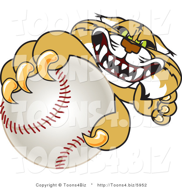 Vector Illustration of a Cartoon Bobcat Mascot Grabbing a Baseball