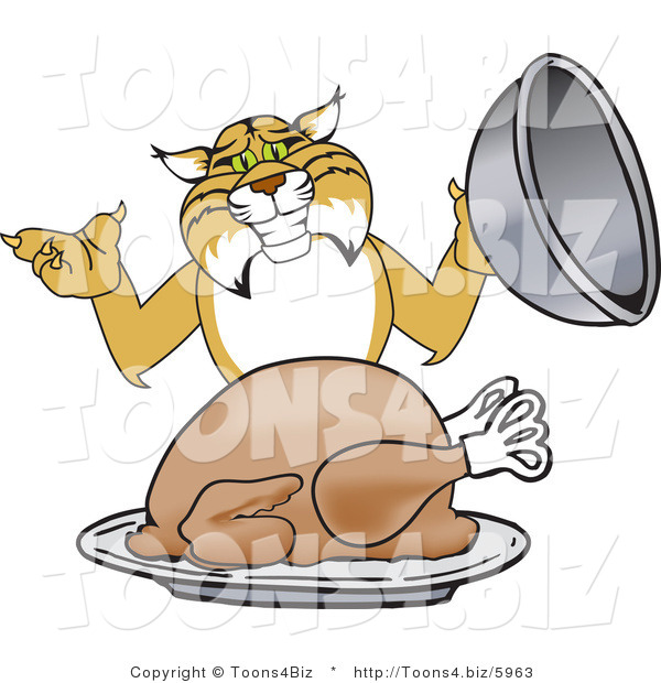 Vector Illustration of a Cartoon Bobcat Mascot Serving a Turkey