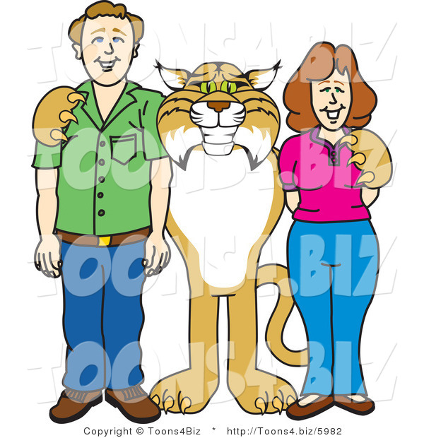 Vector Illustration of a Cartoon Bobcat Mascot with Teachers or Parents