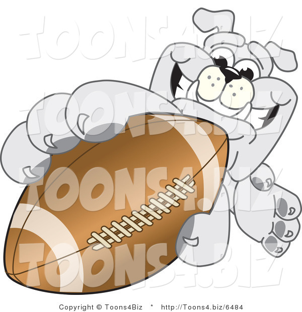 Vector Illustration of a Cartoon Bulldog Mascot Reaching up and Grabbing an American Football